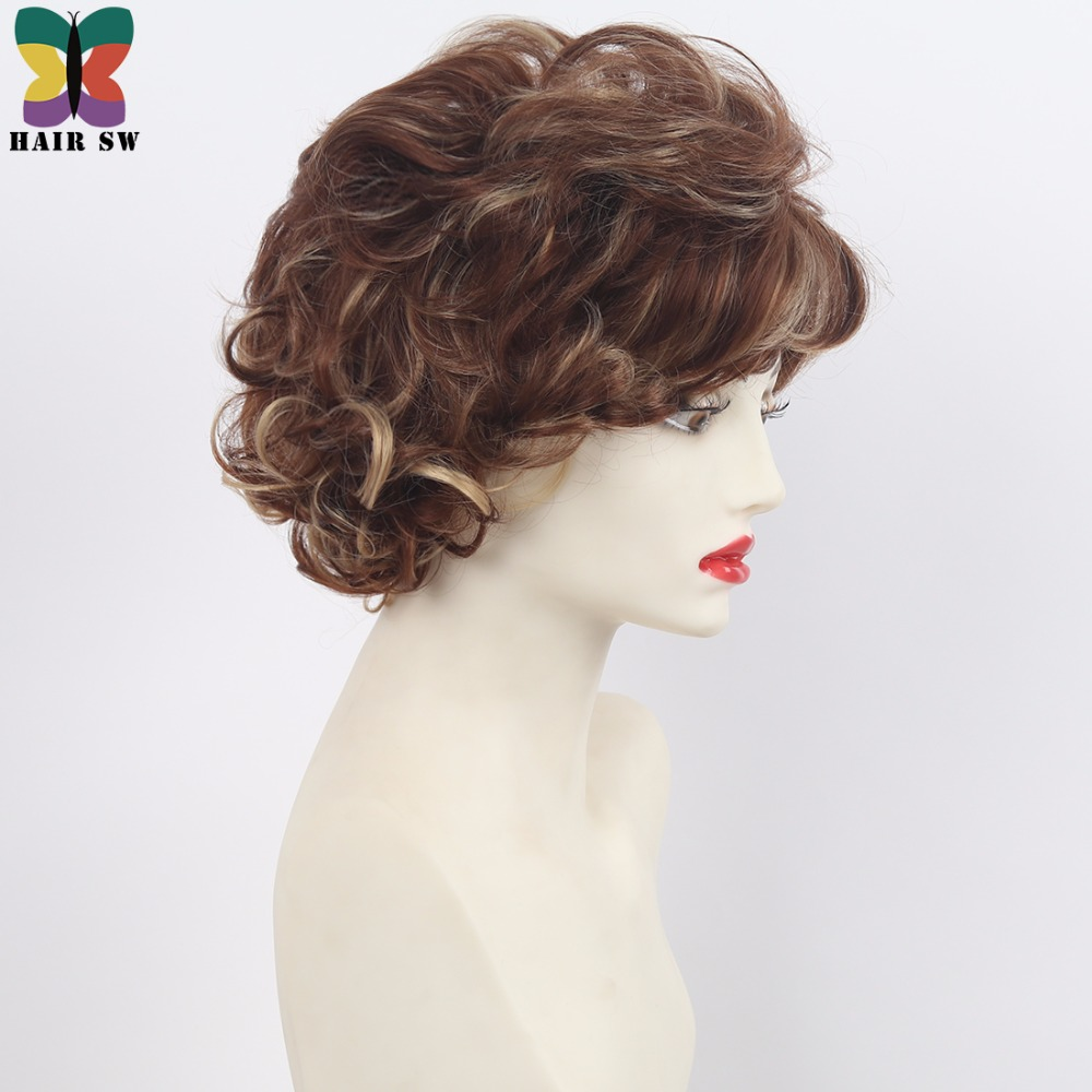 HAIR SW Short Soft Wispy Curls Layered Synthetic Wigs Brown With Light  Copper Blonde Highlights Womenu0027s Wig For Ladies In Synthetic None Lace Wigs  From Hair ...