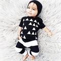 New 2016 summer baby boy clothes cotton short sleeved triangle printing t-shirt+pants newborn casual baby girl clothing set