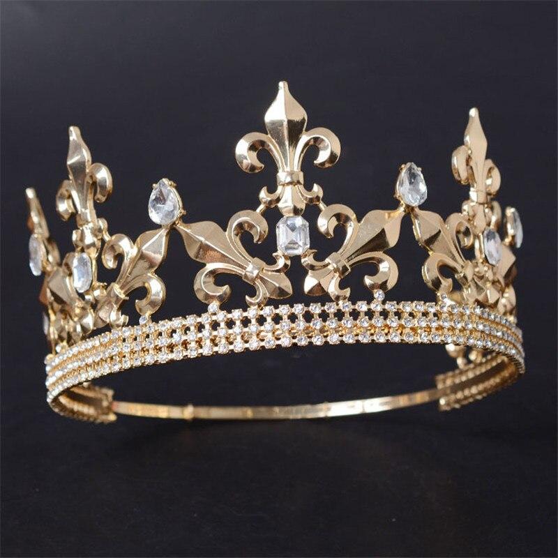 Casamento redondo ajustável rei tiara coroa headpiece para homens festa enfeites de cabelo strass cabeça jóias acessórios