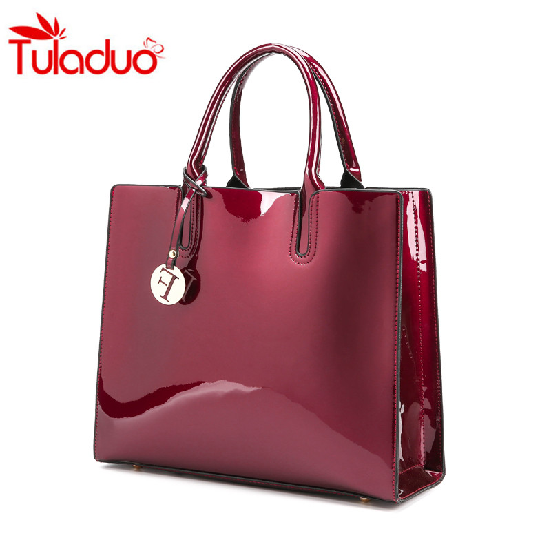 2017 Fashion Solid Patent Leather Women Bags Ladies Simple Luxury Handbags Casual Shoulder Messenger Mummy Bags Sac A Main Tote
