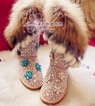 2015 Winter cowhide fox rabbit fur handmade diamond pearl snow boots  women's cotton-padded shoes snow boots