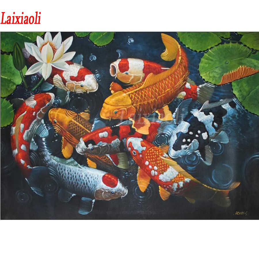 Square/Round stones Diamond Painting Chinese koi fish graph 5D DIY Cross Stitch Diamond Embroidery mosaic art home Decoration