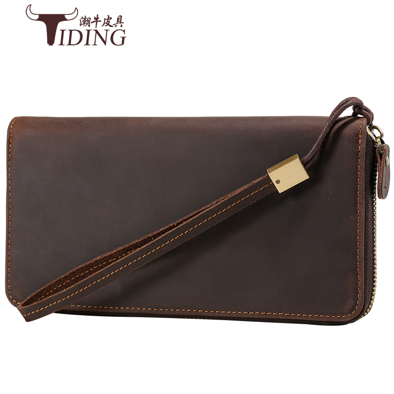 Clutch Male Wallet Men genuine leather Wallets Wristlet Men Clutch Bags Coin Purse Men's Wallet crazy horse Leather Male Purse bostanten wristlet split leather men wallets zipper coin purse holders design leather male wallet large capacity wallet for men