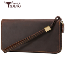 купить Clutch Male Wallet Men genuine leather  Wallets Wristlet Men Clutch Bags Coin Purse Men's Wallet crazy horse Leather Male Purse по цене 3044.88 рублей