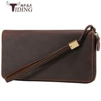 Clutch Male Wallet Men genuine leather Wallets Wristlet Men Clutch Bags Coin Purse Men's Wallet crazy horse Leather Male Purse
