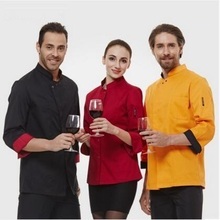 New Arrival!Unisex Long  Chef Sleeve Jackets,Kitchen Hotel Work Wear,LargeConcise Breathable Uniform,3 Colors,Free Shipping,J02