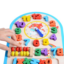 Wooden  Clock Toy Baby Colorful Puzzle Digital Geometry Educational 12 Number High Quality For Kids Children Gift