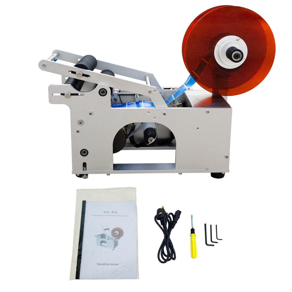 ECO MT-50 Semi-Automatic Round Bottle Labeler Labeling Machine 120W 20-40pcs/min new arrived mt 50 glass manual round bottle labeler glass round bottle machine round tank adhesive labeling machine