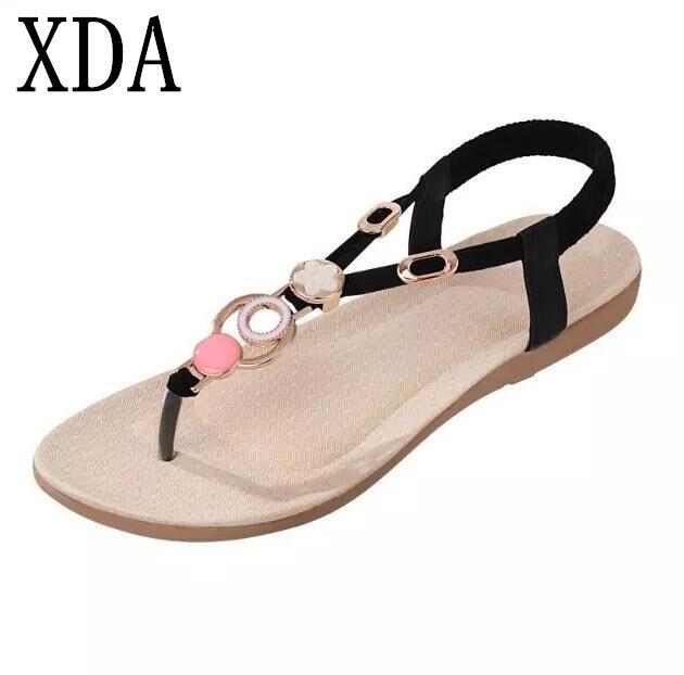 XDA Women sandals 2018 comfort sandals women Summer Classic fashion flat women shoes Ladies beach beads summer sandals 36-40 F96 classic leather sandals classic leather sandals women sandals summer sandals