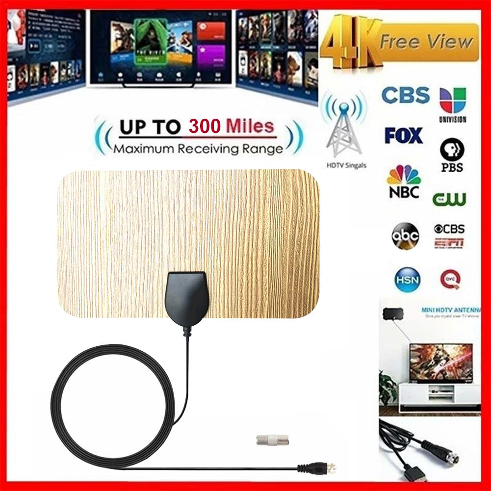 300 Mile TV Antenna For Indoor And Outdoor Wooden Texture 4K 1080P HD Digital TV Antenna