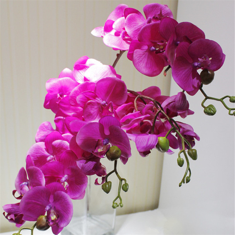 6p real touch orchids butterfly phalaenopsis white fuchsia for Artificial flower for wedding decoration