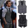 Boutique de los hombres de otoño 2016 de calidad slim fit ocio de algodón traje de chaleco/caballero Masculino Beckham negocio chaleco/Hombre chaleco negro