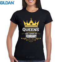 Custom T Shirts Online Gildan Premium O Neck Queens Are Born In February Birthday Short Sleeve