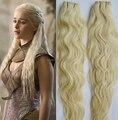 """Nueva Moda #613 Bleach Blonde Armadura Del Pelo Humano 100 g/pc Grado 6a Sin Procesar Virginal Brasileño Rizado Del Pelo 8 """"-32"""" Al Por Mayor"""