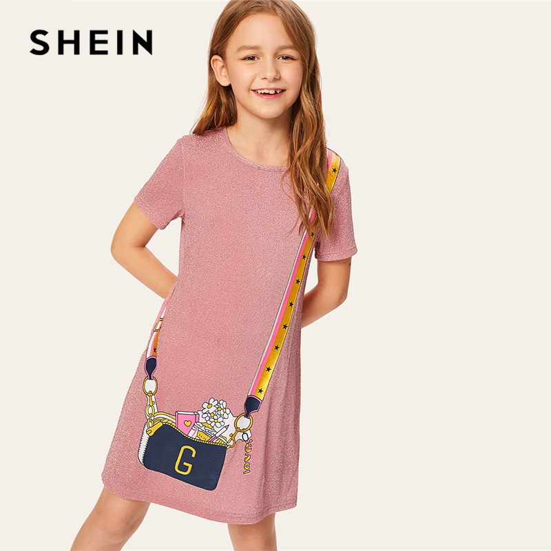 SHEIN Kiddie Pink Pattern Print Glitter Cute Straight Kids Dress 2019 Summer Korean Short Sleeve Short Dresses For Toddler Girls pink stripe pattern crew neck long sleeves backless dress