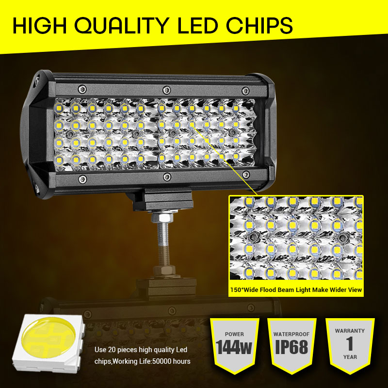 """Image 2 - LED Work Light 7""""12V Led Beams 144W Led Bar Car Off road 4x4 Flood Spotlight Accessories for Motorcycle SUV ATV Tractor led ramp-in Light Bar/Work Light from Automobiles & Motorcycles"""