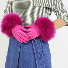 Womens Genuine Leather Glove Winter Warm Real Sheepskin & Fox Fur Gloves Fashion Style Natural Fluffy *harppihop