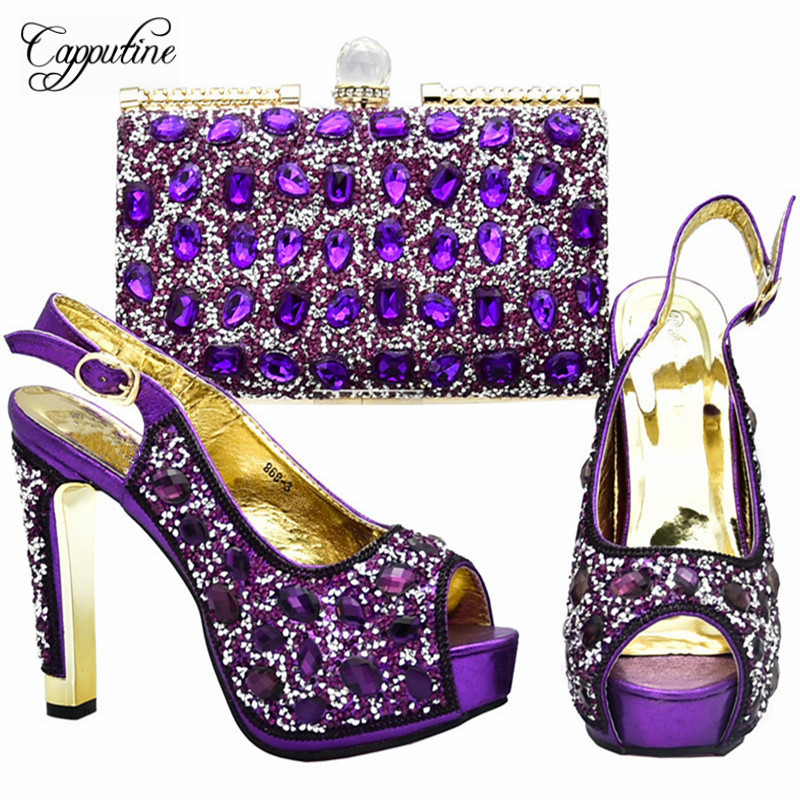 2018 Newest Italian Elegant Shoes With Matching Bag Set African Women Party Shoes And Bag Set Women Sandals Shoes YF-10 2018 newest classic black color very beautiful african women shoes and bag set with more multicolored crystals for evening party