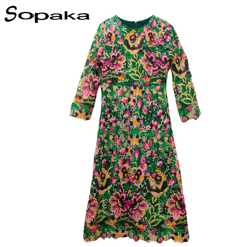 SOPAKA High Quality Material Lace Floral Embroidery Hollow Out Runway Midi Women Dress 2017 Summer Floral