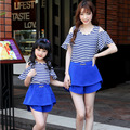 2015 family look girl and mother family set clothes for mother and daughter fashion strip set mother daughter matching clothes