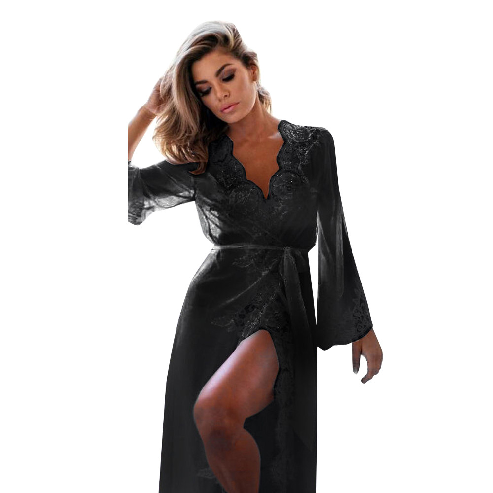 2018 New Sexy Sheer Lace Bath Clothes Women Robes Baby Doll Female Lace Dress Sleepwear Bathrobe Long Sleeve Lace Coat Nightwear