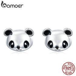BAMOER Genuine 100% 925 Sterling Silver Animal Collection Cute Panda Stud Earrings for Women Sterling Silver Jewelry SCE386