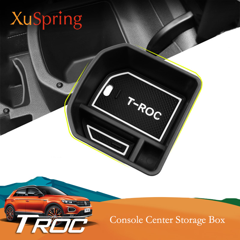 Decoração Interior do carro Acessórios Reequipamento Estilo Recipiente Caixa De Armazenamento Do Console Apoio de Braço Para VW T-Roc Troc 2017 2018 2019