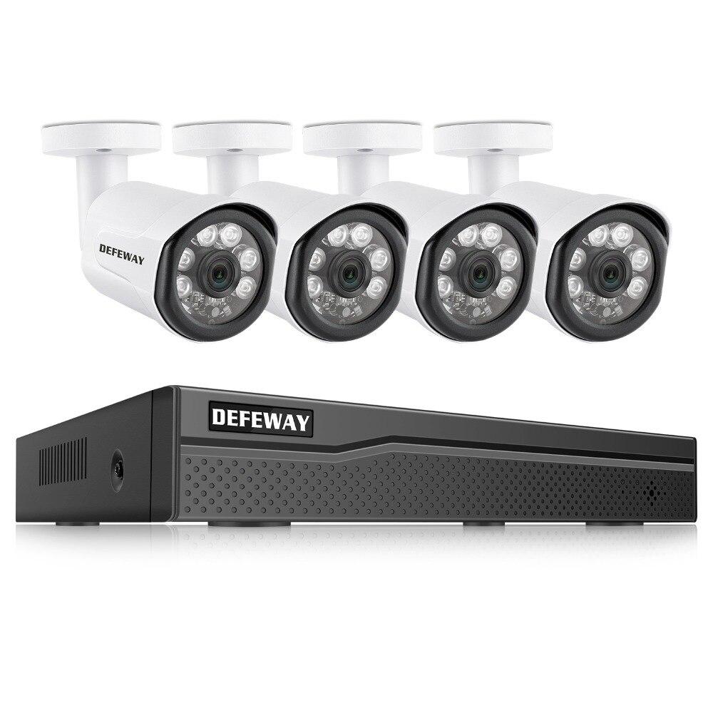 DEFEWAY Kit de Vigilância De Vídeo POE 4 PCS 2.0MP 8CH 1080 P HD NVR Sistema de CCTV Ao Ar Livre Câmera IP De Vigilância Por Vídeo sistema Para Casa