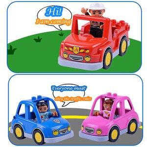 Image 3 - Coche de dibujos animados Compatible con Duploed City, camión agrícola, remolque, avión, modelo de muñeca, bloques de construcción, juguetes educativos para niños, regalos