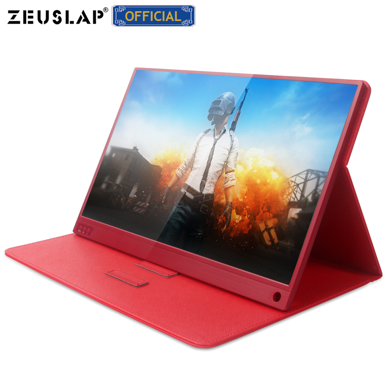 15.6 inch Touching Portable Monitor 1920x1080 FHD HDR IPS Display Gaming Monitor with Leather Case for Switch/PS4/Xbox/Phone-in LCD Monitors from Computer & Office    1