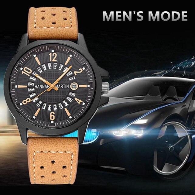 Hannah Martin Sport Watches Fashion Auto Date Watch Men Wristwatch Leather Strap Military Watches Clock Relogio Masculino Saati