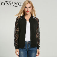 Meaneor Women Casual Lace Patchwork Zip Up Short Slim Fit Bomber Jacket Coat 2018 Spring New