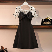 Chiffon dress Patchwork small black Dress short sleeves bowknot Elegant party short dress