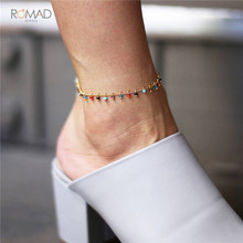 Romad Colorful Crystal Rhinestone Pendant Anklet Barefoot Anklet Leg Bracelets For Women Girl Summer Foot Jewelry