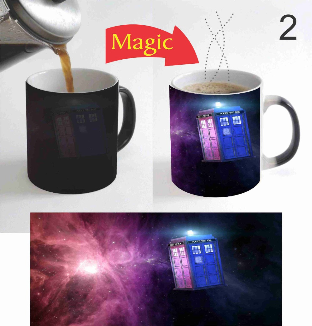 Doctor Who Dr Who Tardis Wibbly Wobbly mug Heat Sensitive transforming cup cold hot heat changing