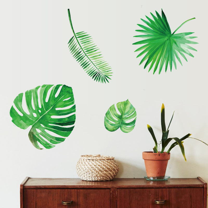 Home & Garden Home Decor Provided Tropical Paradise Green Leaf Citygreen Life Wall Sticker For Cabinet Wardrobe Sideborad Dining Room Window Stickers Sk7134 Latest Fashion