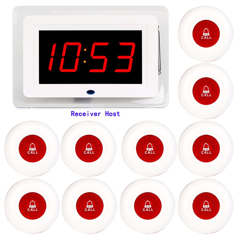 4 color Restaurant Pager Wireless Calling System 10 Call Transmitter Button + 1 Display Receiver Host with Voice Broadcast F3259