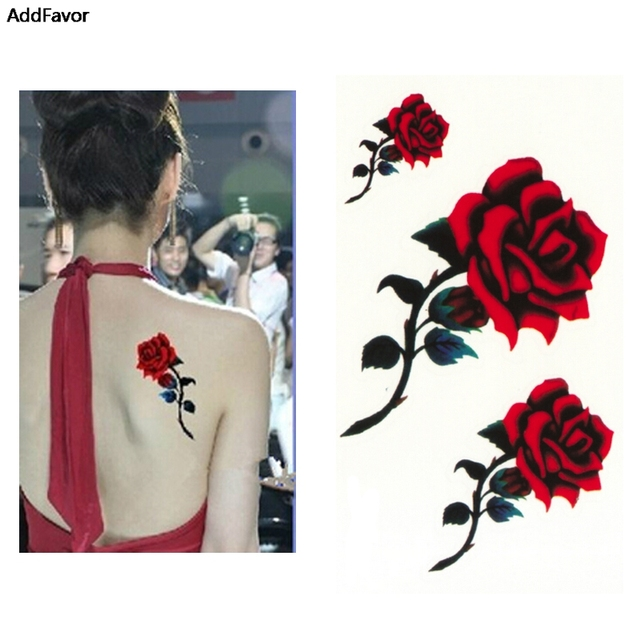 AddFavor 5PCS Sexy Red Rose Design Women Waterproof Body Arm Art Temporary Tattoos Sticker Leg Flower Fake Tattoo Sleeve Tools