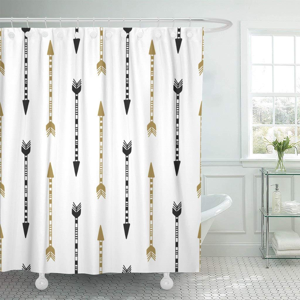 Us 17 48 30 Off Fabric Shower Curtain With Hooks Bow Of Vintage Arrow In Black And Gold Colors Drawn Aztec Hand Indian Abstract American In Shower