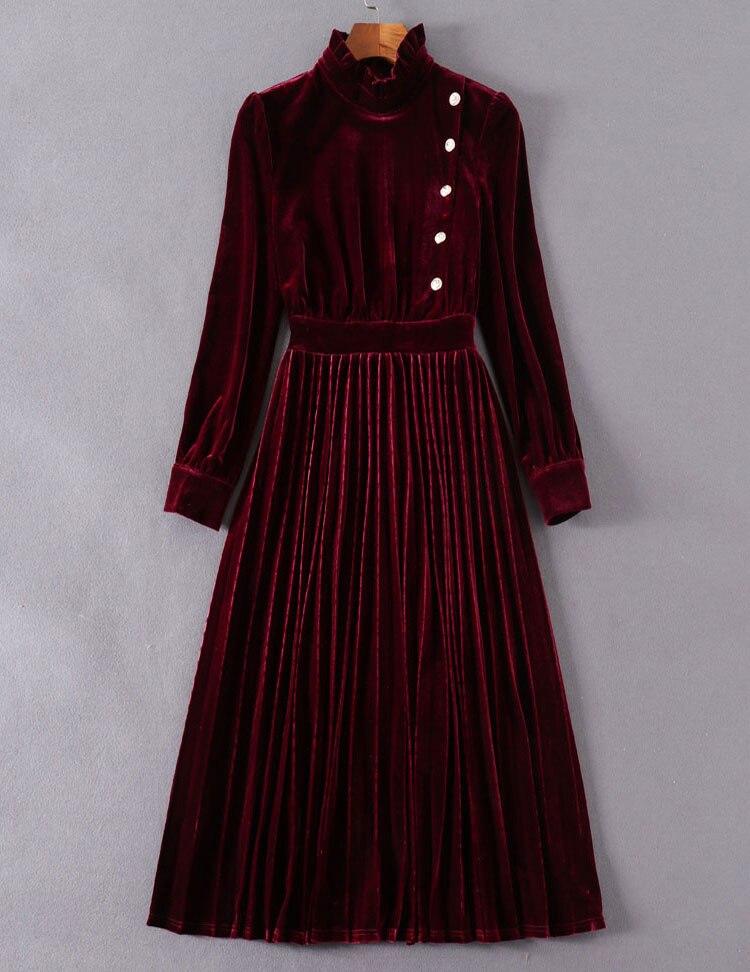 Rouge cou Velours Féminine De Genou bourgogne Printemps Nouveau Élégante O longueur ligne Vert Robe Robes K300 Femmes Vert 2019 A Solide Casual w6qXFgx