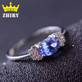 Natural Azul Tanzanita anillo Genuino esterlina del sólido 925 de plata Realmente gem stone anillos mujer joyería