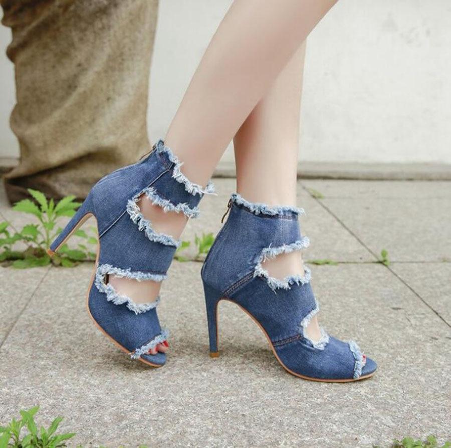 Nouvelles Talon Sandales Trou Denim Chaussures Chaude Bleu Stiletto De Simples Léger Doux Haute Respirant Femmes Belle Et x4q8vxwT
