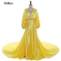 1M Train Sexy Evening Dress V Neck Silk Satin Crystal Yellow Blue Party Evening Dresses 2017