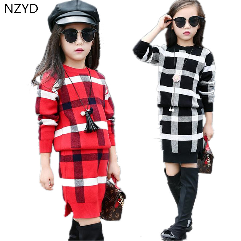 2017 New Spring Autumn Fashion Girls Suits Grid Knit Sweater+ Skirt Girls Sets Pretty casual Kids clothes 4-13Years HL338 2016 autumn and spring new girl fashion cowboy short jacket bust skirt two suits for2 7 years old children clothes set