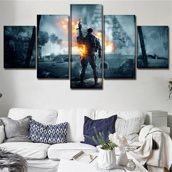 Modular Canvas HD Prints Posters Home Decor Wall Art Pictures 5 Pieces Battlefield 4 Game Paintings Decorative Framework