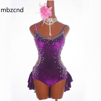 Latin Dance Dress Female Sparkly Rhinestones Dancing Dresses For Women Rumba Samba Purple Elegant Fringe Skirt Show