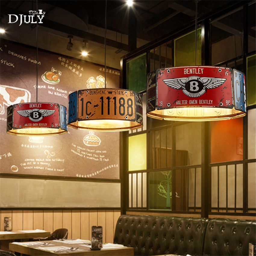 Retro restaurant bar LOFT license plate iron pendant lights suspension luminaire industrial for coffee store dining room fixtureRetro restaurant bar LOFT license plate iron pendant lights suspension luminaire industrial for coffee store dining room fixture