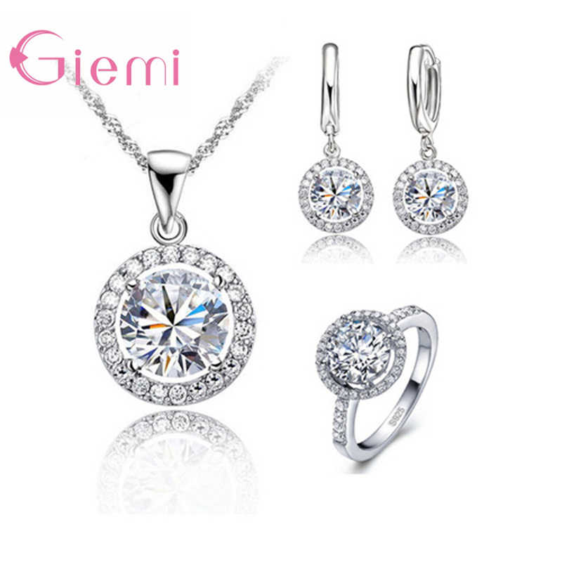 925 Sterling Silver Women Wedding Necklace Earring Ring Jewelry Sets Anniversary Gift AAA Zircon Crystal Rhinestone Bijoux