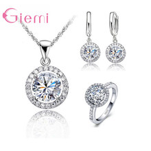 925 Sterling Silver Women Wedding Necklace Earring Ring Jewelry Sets Anniversary Gift AAA Zircon Crystal Rhinestone Bijoux(China)