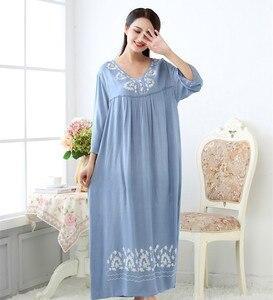 Image 5 - Fdfklak M XXL حجم كبير النساء ملابس خاصة الملابس الداخلية القطن النوم فستان مثير طويل قمصان النوم للنساء ثوب النوم ربيع الخريف